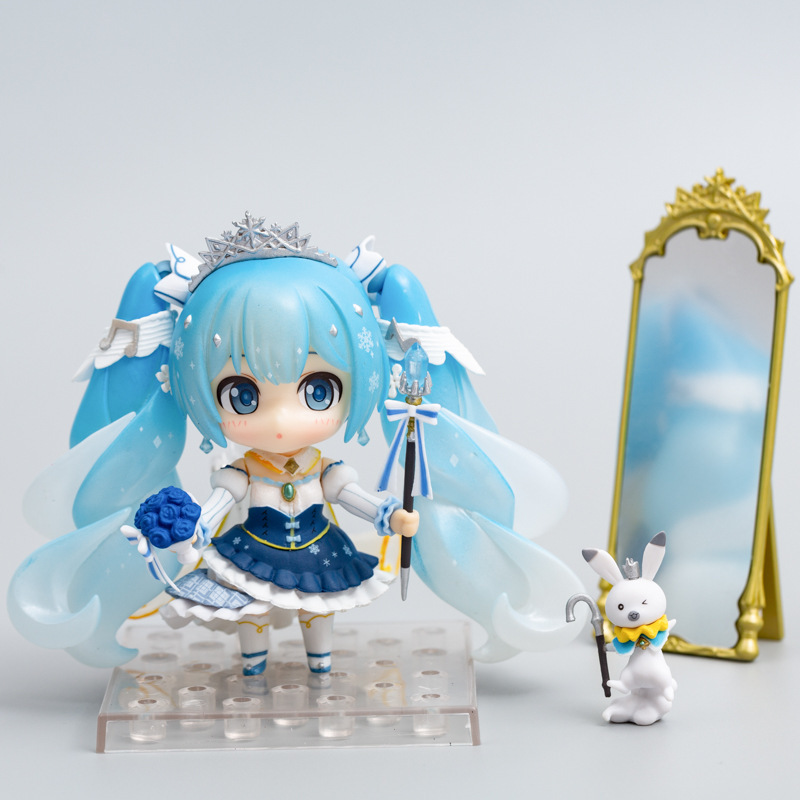 Cute Anime Hatsune Miku 2019 Snow Princess Ver. 1000 Snow Miku Q Version PVC Action Figure Collectible Model Kids Toys Doll Gift image
