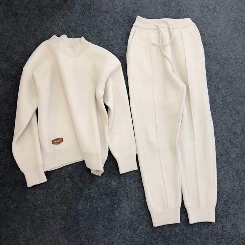 Large beige Deux 2019 Noir Pattes Coréenne Cachemire Femmes Tricoté De Double Pantalon pièces Costume Mode Tempérament En face Version gwUvqBOAx