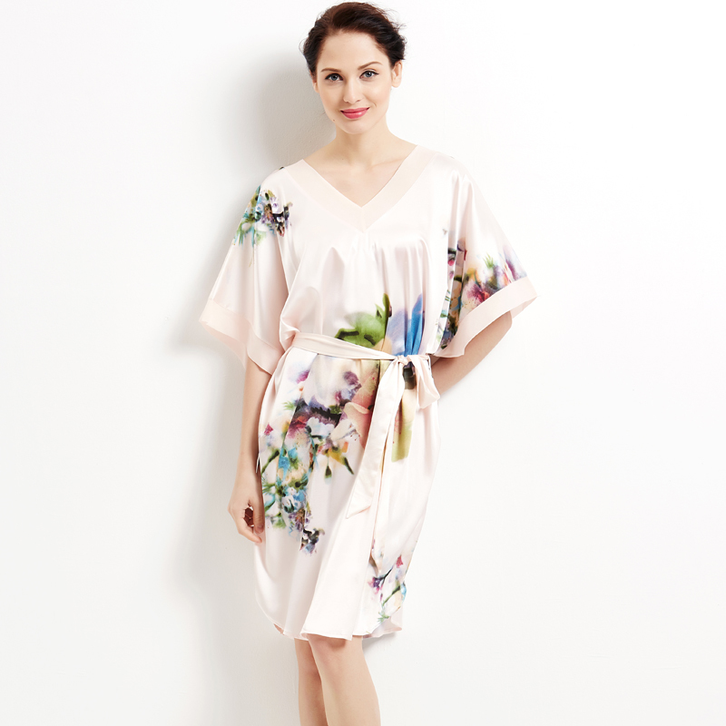 Quality silk nightgown women's summer elastic satin plus size loose short sleeve sleepwear lounge