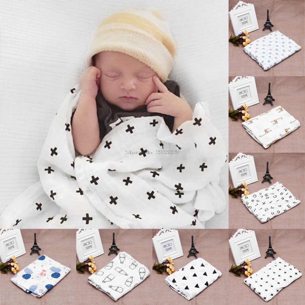 Soft Muslin Newborn Baby Swaddling Blanket Infant Cotton Swaddle Towel 120x120cm B116