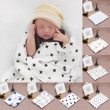 Soft Muslin Newborn Baby Swaddling Blanket Infant Cotton Swaddle Towel 120x120cm -B116