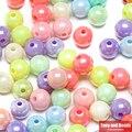 Бесплатная доставка Смешанная Блестящий AB круглый шар Свободные Акриловые Spacer Бусины на возраст 6, 8, 10, 12 лет мм Палочки Размеры для изготовления ювелирных изделий AC3 - фото