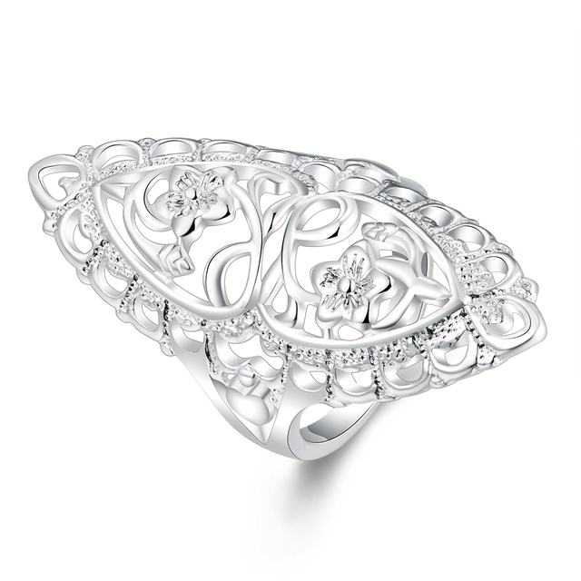 sterling silver jewelry 925 vintage rings with natural stones flower