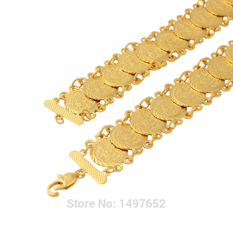 Gold Color Coin Bracelets Women Men Gifts Link Chain