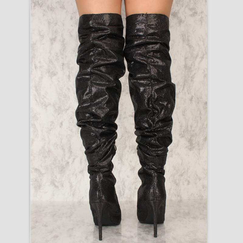 9a2a5a63216 Fashion Pleated Designer Over Knee Boots Women Pointed Toe High ...
