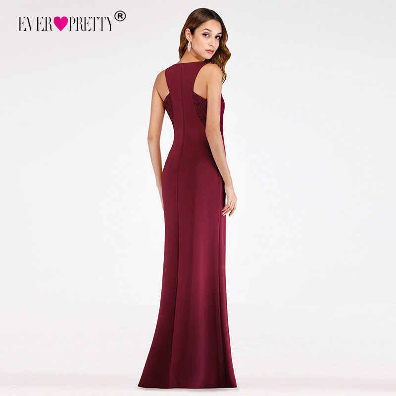Borgonha vestidos de noite 2019 pequena sereia com decote em v longos vestidos de noite formais sempre bonito ep07522 elegante laço robe de soiree