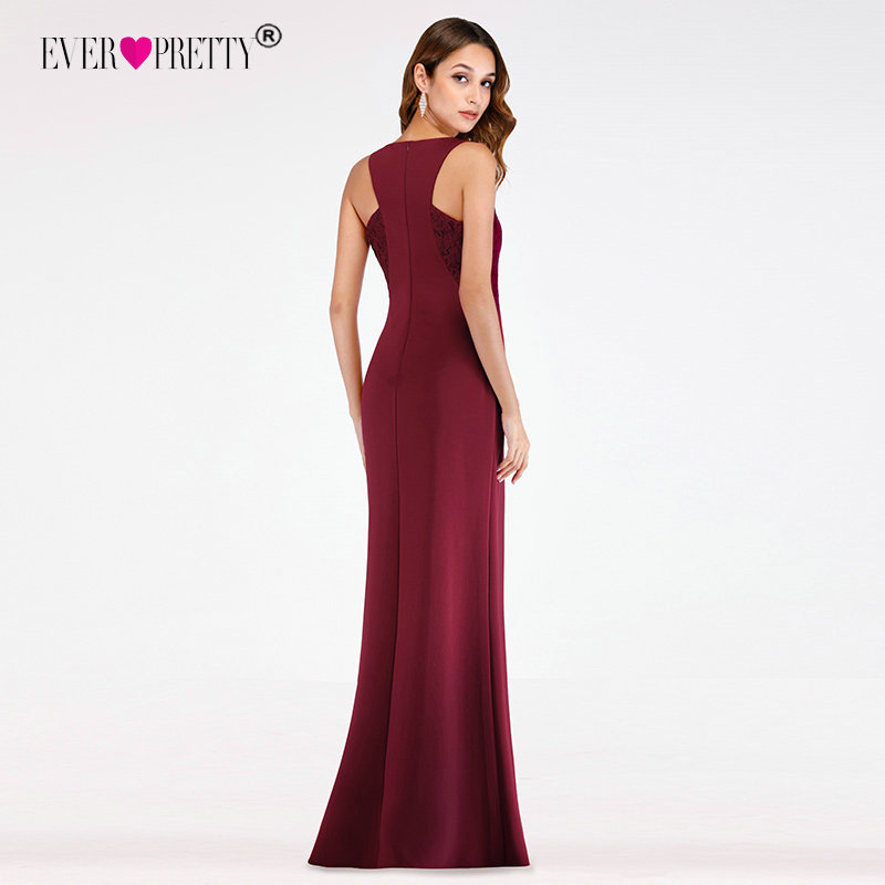 Burgundy Evening Dresses 2020 Little Mermaid V Neck Long Formal Evening Gowns Ever Pretty EP07522 Elegant Lace Robe De Soiree