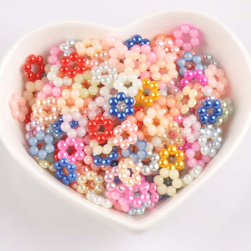 200pcs/lot 8.5mm Mix Color Flower Shape Imitation Half Round Pearl Flatback Beads For Scrapbook Diy Decoration Ykl0595x Beads & Jewelry Making Jewelry & Accessories