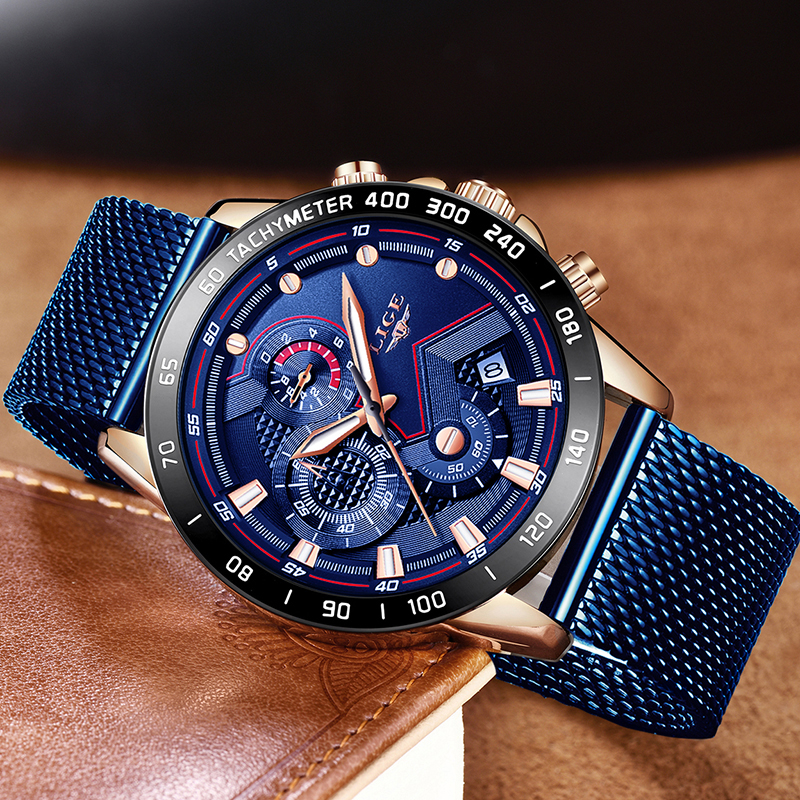 Image 3 - LIGE Fashion Mens Watches Top Brand Luxury WristWatch Quartz Clock Blue Watch Men Waterproof Sport Chronograph Relogio Masculino-in Quartz Watches from Watches
