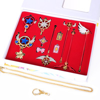 Hot Sale Toys Card Captor Sakura Accessories set Magic Wand Clow Card Cosplay Necklace Pendants keychain Christmas birthday Gift