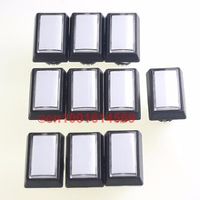 Nice 50mm*33mm 10pcs/lot 5V Rectangular LED Illuminated Arcade Push Button with Microswitch for Arcade Video Games DIY-White