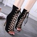 2017 de La Moda de Gladiador Stiletto Tacones Altos Mujeres Sandalias Botines de Punta Abierta Lace Up Pumps Zapatos de Mujer Botas Botas Femeninas WO096
