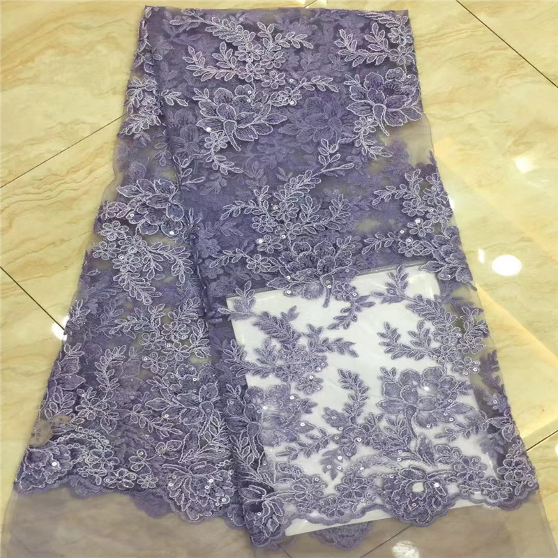 VILLIEA Purple French Nigerian Laces Fabrics High Quality Tulle African Laces Fabric Wedding African French Tulle Lace Fabric-in Lace from Home & Garden    1
