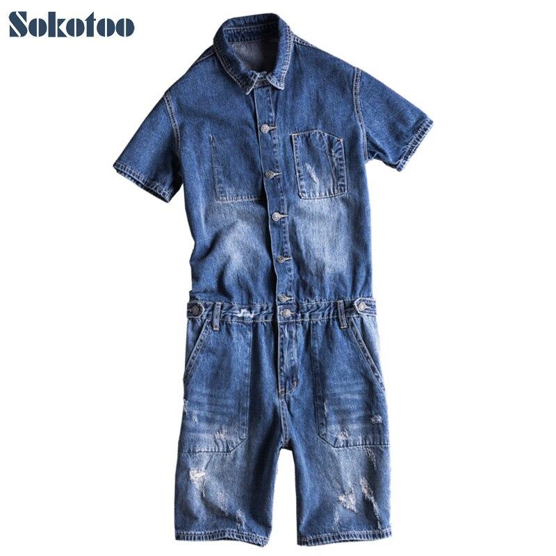 Sokotoo Men's Short Sleeve Knee Length Denim Jumpsuits Casual Summer Letters Print Overalls Shorts Jeans