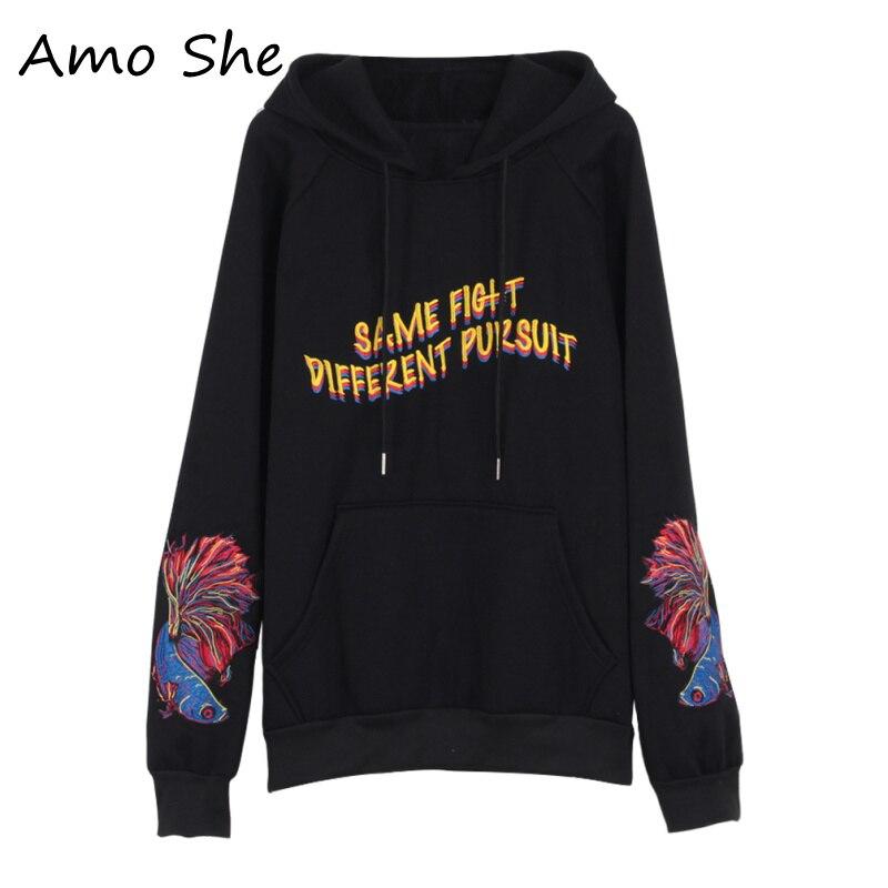 Amo She Harajuku Fish Letter Embroidery Hoodies Pocket Fleece Hooded Sweatshirt Women Men Autumn Casual Pullovers Streetwear