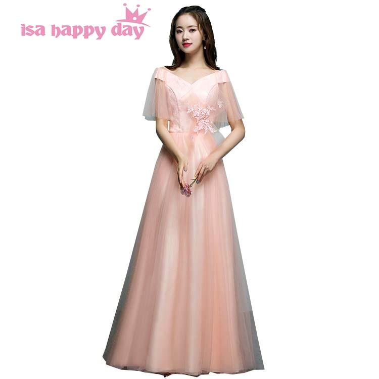ff7d1e86ec06f Özel günlerinde vestidos festas longo casamento şeftali renkli güzel  gelinlik kapalı omuz nedime elbiseler önlük H4171