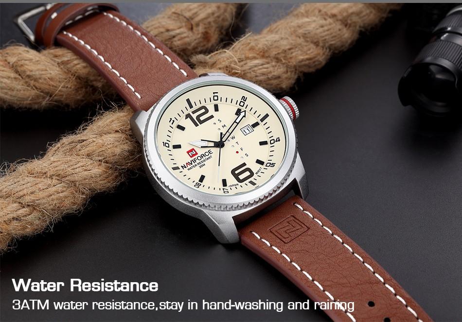2017 De Luxe Marque NAVIFORCE Hommes Sport Militaire Montres Hommes de Quartz Date Horloge Homme En Cuir Décontractée Montre-Bracelet Relogio Masculino 8