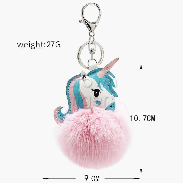 Anime Unicorn Plush Toy Chaveiro Com Pom Pom Saco Pendure Pingente Chave Pingente de Unicórnio Macio Stuffed Animal Brinquedos para As Crianças meninas de presente