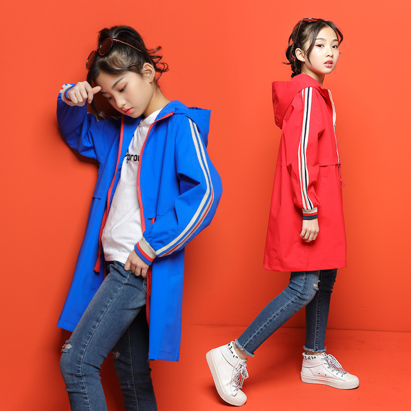 Windbreaker Girls Jacket Girl Outerwear Kids Coats & Jackets Children Toddler Cardigan 6~16Y Spring Autumn   Trench   Outfits CA878