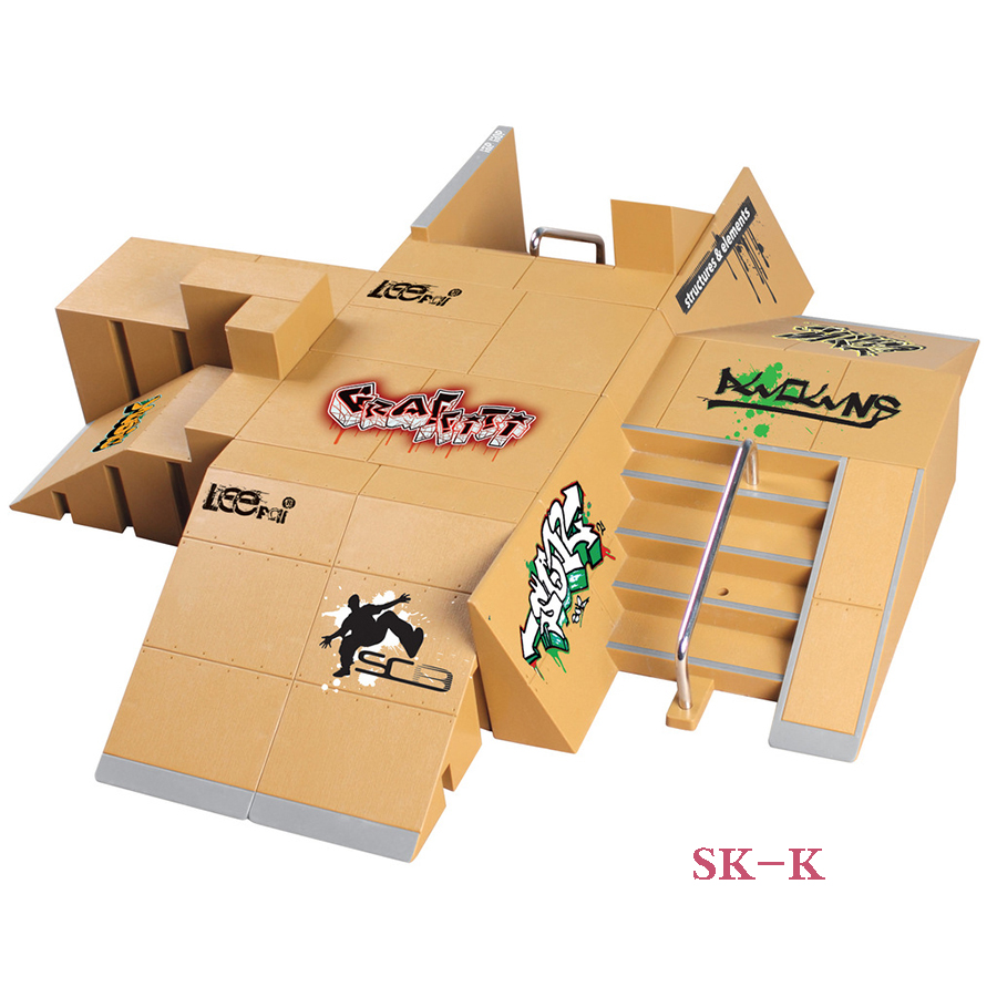 SK-K 13 Super Super Multi-gaya Gabungan Skateboard Park Ramp & Fingerboard untuk Tech Deck & Finger Board Stage Property
