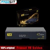 Натуральная freesat V8 золотой и USB WiFi DVB-S2 + T2 + C спутниковый ТВ комбинированный приемник Поддержка powervu Biss ключ cccamd Newcamd USB Wi-Fi