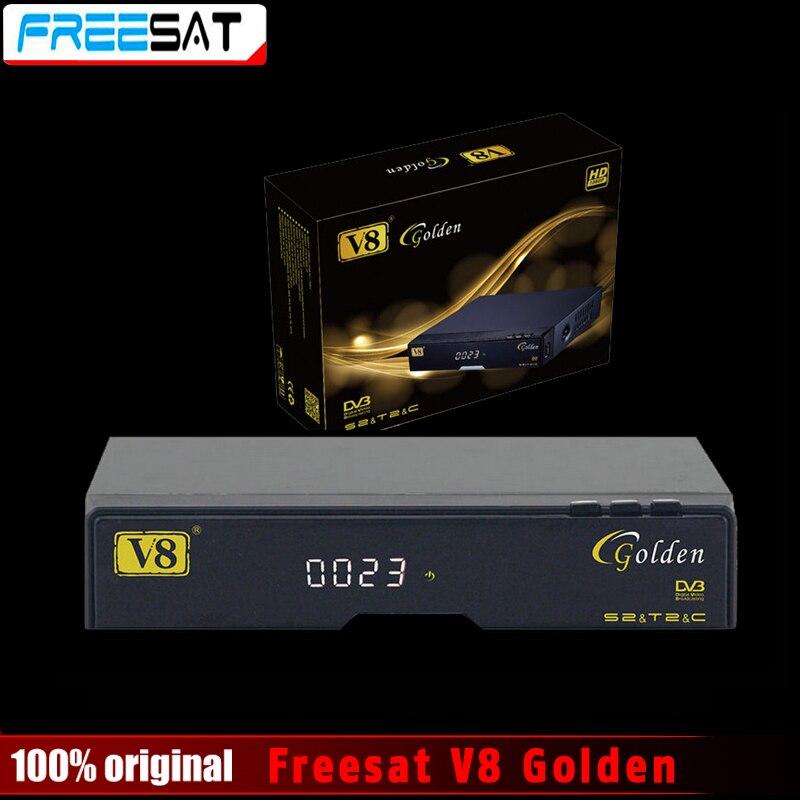 Véritable Freesat V8 Or & USB Wifi DVB-S2 + T2 + C Satellite TV Combo Récepteur Soutien PowerVu Biss Key Cccamd Newcamd USB Wifi
