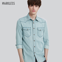 Markless 2017 Autumn Men Light Denim Blue Shirts Male Long Sleeve Shirt Man Denim Shirts Fashion