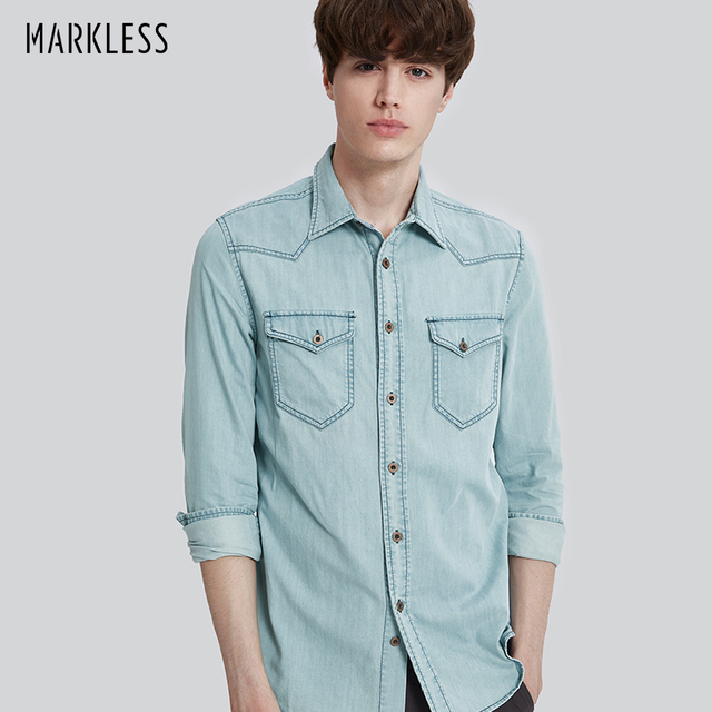 93e7e7cb4b Markless 2018 Men Light Denim Blue Shirts Male Long Sleeve Shirt Man Denim  Shirts Fashion camisa denim hombre CSA7592M