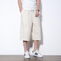 Chinese Style Casual Shorts Men Summer Harem Low Crotch Cargo Shorts Multi Pocket Drawstring Solid Loose