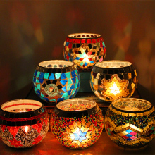 Mosaic Round Candle Holders