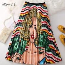 2019 High Waist Midi Skirt Women Print Novelty Fashion Pleated Elastic Summer Autumn Casual Daily Wear LS-9831