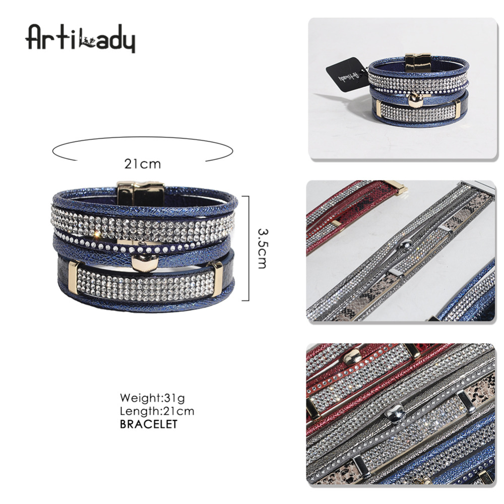 Artilady new pu leather crystal apple charm bangles grey red blue multi layer bracelets for women Valentine jewelry gift