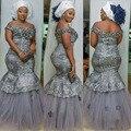 Плюс Размер Серый Аппликации Длинные Вечерние Платья Нигерии Длинное Платье Кенийского Стили Вечернее Платье King Size Африканских Вечерние Платья