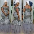 Más el Tamaño Gris Bordado Largo Vestidos de Noche Nigeriano Vestido Largo Kenyan Estilos Vestido de Noche Rey Tamaño Vestido de Noche Africana