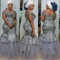 Plus Size Gray Appliques Long Evening Dresses Nigerian Long Dress Kenyan Styles Evening Dress King Size African Evening Dress