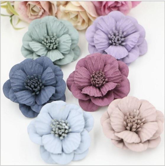2017 New 120pcs Handmade Microfiber Florals Korea suede 3D camellia Shape Fashion flowers Hair accessory Diy