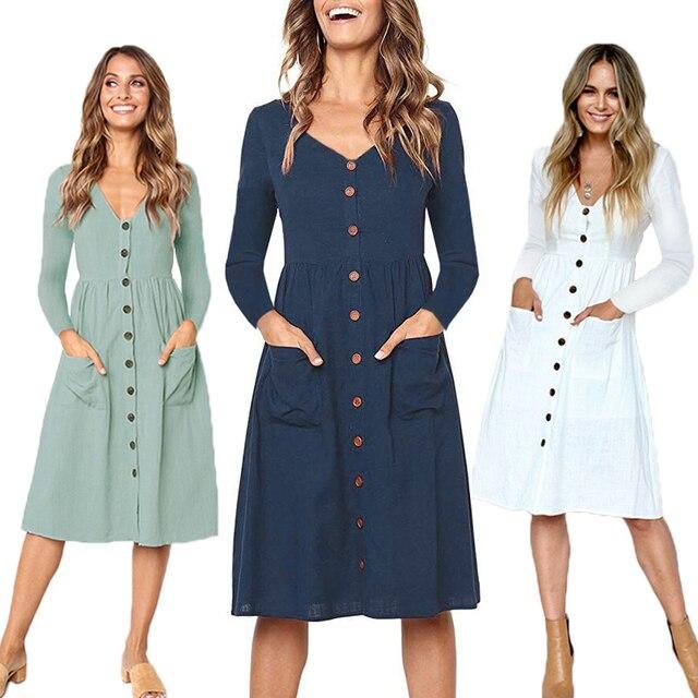 4cbab8e1cd095 2018 sonbahar elbise kadın bayanlar uzun kollu cep düğmeleri V yaka Casual  beyaz siyah kırmızı Midi Vintage kış