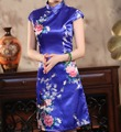 Fashion Blue Chinese Women Dress Silk Rayon Cheongsam Qipao Knee Length Dress Flower Vestido De Festa Plus Size S To XXXL HB035