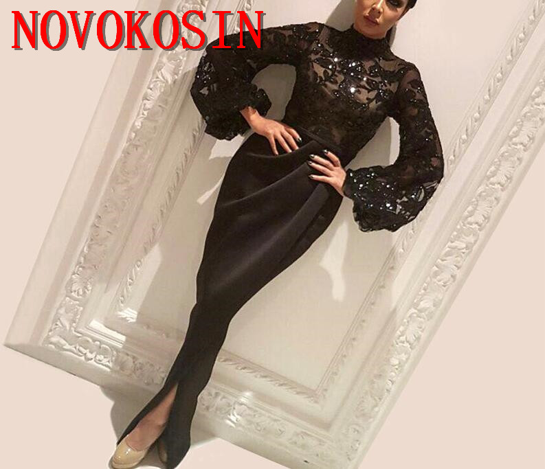 2019 Arabic Mermaid Embroidered Sequin Open Split Formal Gown Vestido Longo Prom Dresses High Neck Long Sleeves Evening Dresses in Evening Dresses from Weddings Events