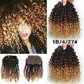 Ali Ombre Cabelo Humano Weave Brasileiro Virgem Do Cabelo 3 PCS Com Fecho cabelo GaGa Cabelo Encaracolado Com Fechamento Ombre Afro Crespo Encaracolado Perucas