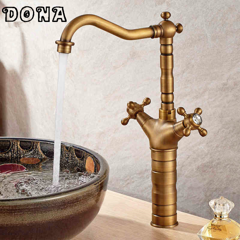 Free Shipping 360 Degree Swivel Antique Bronze Finish Brass Faucet Bathroom Sink Mixer Bath