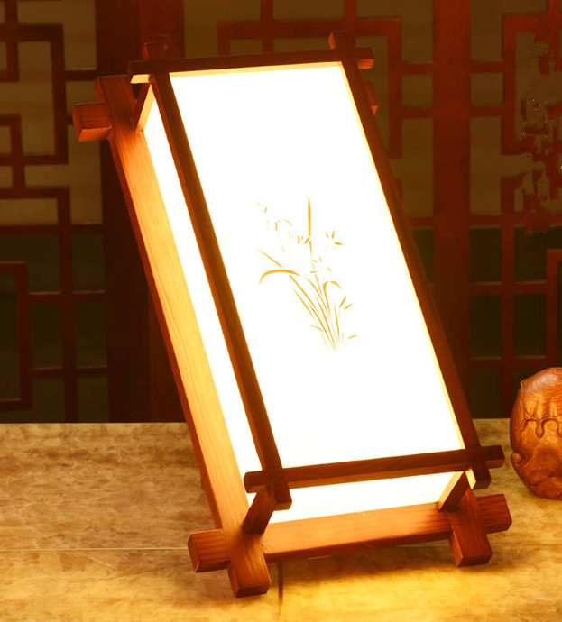 Rustic style brown wood frame big wall lamps Antique hand-drawing white parchment E27 LED lamp for porch&stairs&pavilion XDBD007