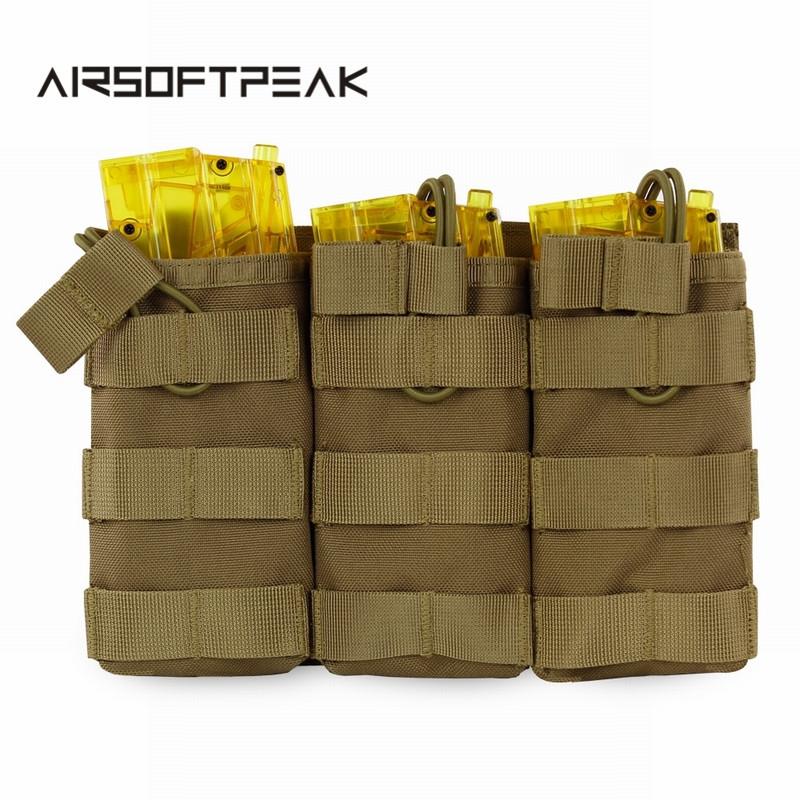 AIRSOFTPEAK Tactical Molle Triple Magazine Pouch Open Top Vest Accessory Bag Combat Gear Mag Holster Paintball Equipment