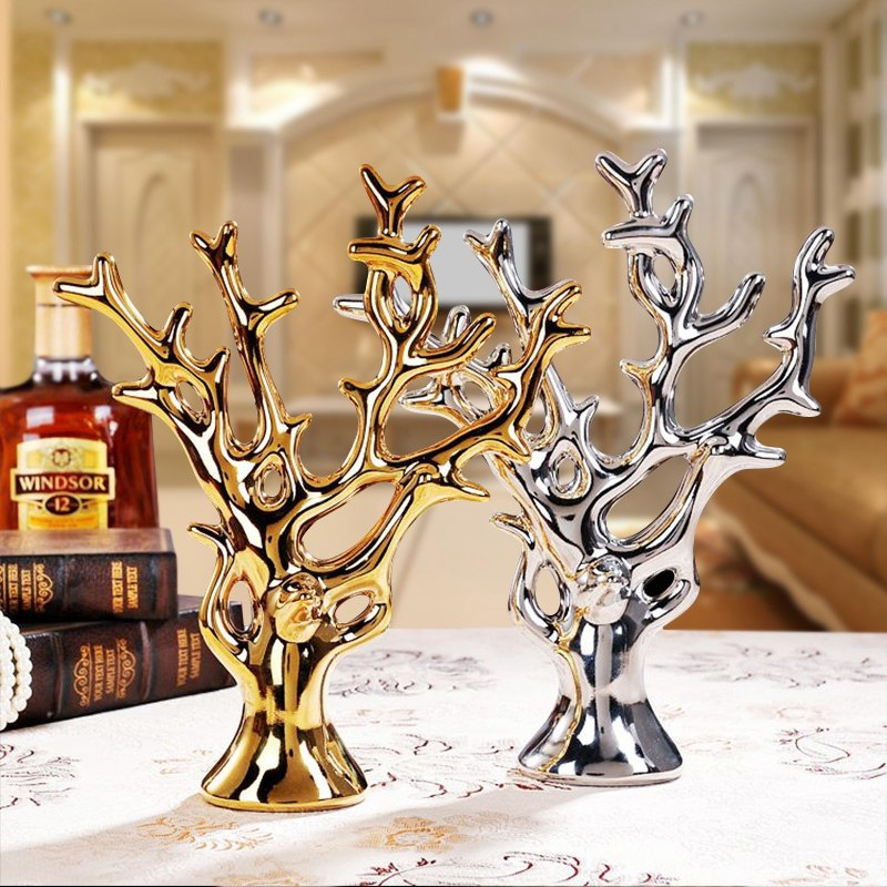 Modern Gold Silver Ceramic Swan Figurines Crafts Home Livingroom Tv Cabinet Ornaments Decoration Fengshui Office Accessories Art