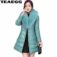 Teaegg плюс Размеры 5xl 6xl хлопок Для женщин зимняя куртка Мужские парки Mujer PU зимние пальто куртки наивысшего качества 2017 Женский парка al291