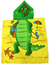 Hooded Microfiber Cartoon Beach Towel