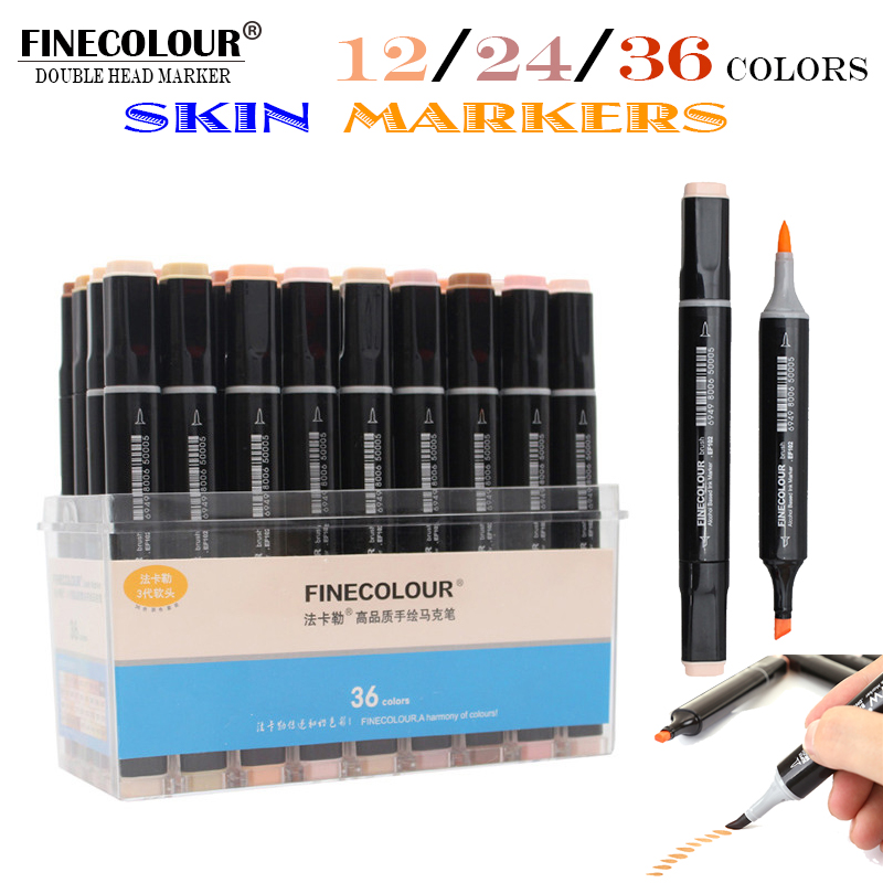 Finecolour 12/24/36 Double Ended Brush Markers Manga Colors Skin Tones Sketch Graphic Design with Pen Case Or Bag