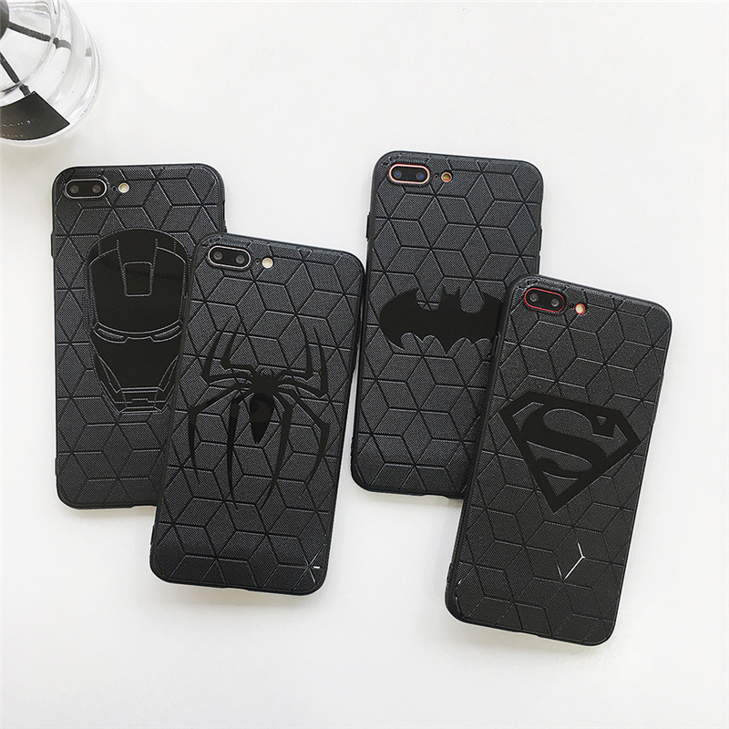 3D Relief Iron Man Batman Spider Man Case for Coque iPhone 6 6s 6plus 7 8 plus Cases Soft TPU Funda for iPhone X Xs Max Xr Capa marvel glass iphone case