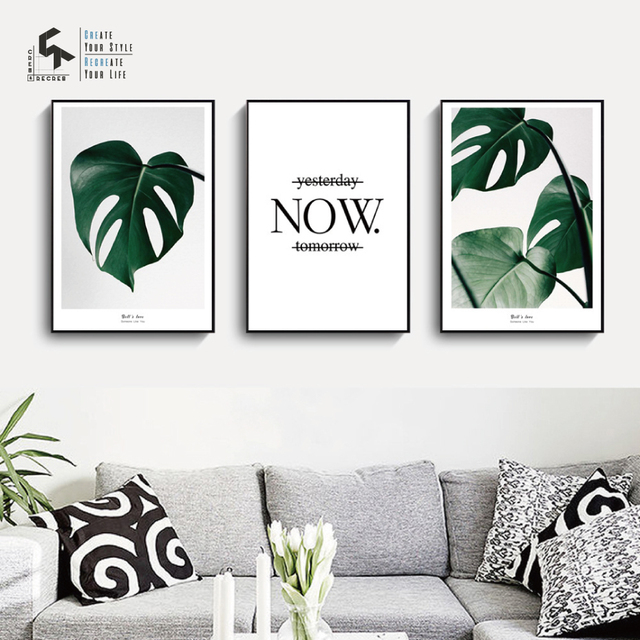 Createamprecreate Nordic Poster Leaf Life Quote Posters Prints Wall Art Canvas Painting Home Pictures