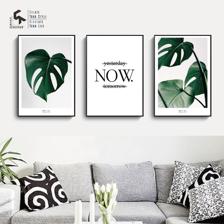 Create&recreate Nordic Poster Leaf Life Quote Posters And Prints Wall Artwork Canvas Portray House Ornament Photos Cr1810115009